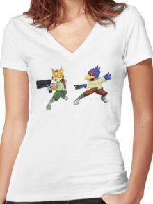 Fox and Falco StarFox Melee Design Women's Fitted V-Neck T-Shirt