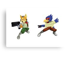 Fox and Falco StarFox Melee Design Canvas Print