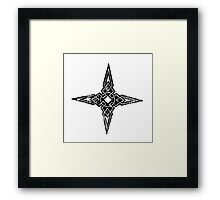 Skyrim Distressed Dawnstar Logo B&W Framed Print