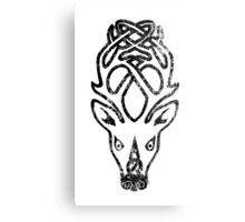 Skyrim Distressed Falkreath Logo B&W Metal Print