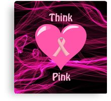 Breast Cancer Ribbon with Heart Canvas Print