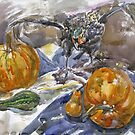 still life with pumpkins and pheasant by Svetlana Mikhalevich