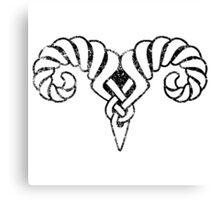 Skyrim Distressed Markarth Logo B&W Canvas Print