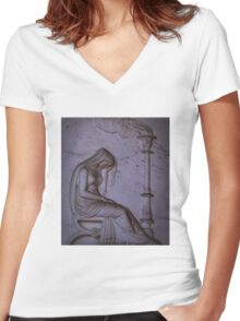 Sarcophagi sculpture another mourning lady  Women's Fitted V-Neck T-Shirt