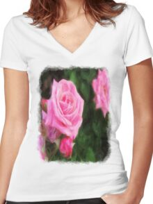 Pink Roses in Anzures 1 Vivid Oil Women's Fitted V-Neck T-Shirt