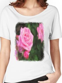 Pink Roses in Anzures 1 Vivid Oil Women's Relaxed Fit T-Shirt