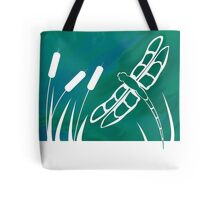 Dragonfly and Cattails Tote Bag