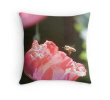 Bee-Poppy Throw Pillow