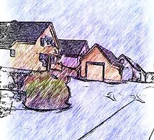 Many houses drawing by ZierNor