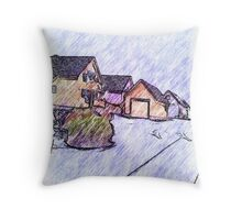 Many houses drawing Throw Pillow