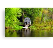 Reflections of a Boathouse and Dock at the Old North Bridge Canvas Print