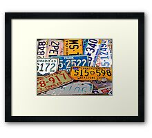 License Plate Poster Framed Print
