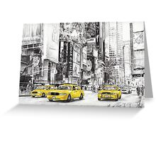 Three Yellow Taxi's Greeting Card