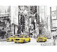 Three Yellow Taxi's Photographic Print