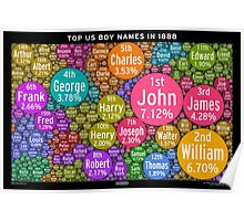Top US Boy Names in 1888 - Black Poster