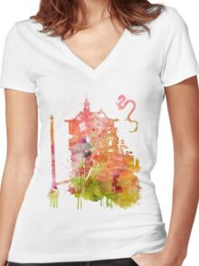 Spirited Away Bath House Watercolor Women's Fitted V-Neck T-Shirt