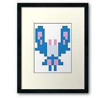 Blue Space Bug Classic 80s Arcade  Framed Print