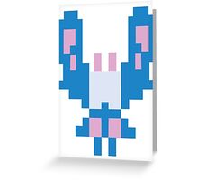 Blue Space Bug Classic 80s Arcade  Greeting Card