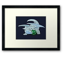D20 White Dragon Framed Print