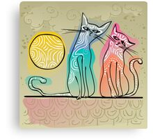 cute cats in love sitting on a roof Canvas Print
