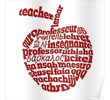 Teacher in world languages apple Poster