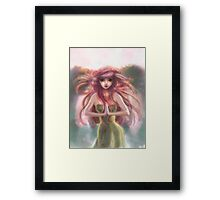 Pink Haired Fairy Woman Framed Print