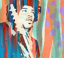 Jimi Hendrix Portrait Psychedelic Sixties by Pepe Psyche by Pepe Psyche