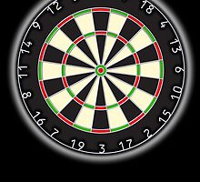 Dart Board, Darts, Arrows, Target, Bulls eye, Pub game, on Black by TOM HILL - Designer
