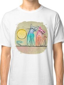 cute cats in love sitting on a roof Classic T-Shirt