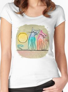 cute cats in love sitting on a roof Women's Fitted Scoop T-Shirt