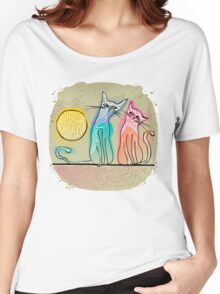 cute cats in love sitting on a roof Women's Relaxed Fit T-Shirt