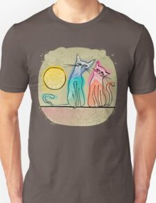 cute cats in love sitting on a roof T-Shirt