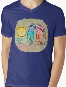cute cats in love sitting on a roof Mens V-Neck T-Shirt