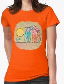 cute cats in love sitting on a roof Womens Fitted T-Shirt