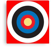 Bulls Eye, Right on Target, Roundel, Archery on Red Canvas Print