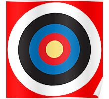 Bulls Eye, Right on Target, Roundel, Archery on Red Poster