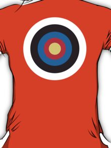 Bulls Eye, Right on Target, Roundel, Archery on Red T-Shirt