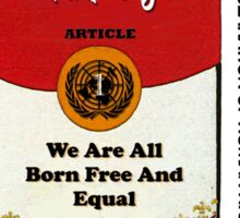 HUMAN RIGHTS POP ART – UNIVERSAL DECLARATION OF HUMAN RIGHTS – ARTICLE 1 Sticker