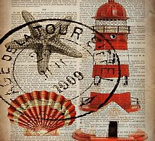 shabby chic vintage sea shells nautical lighthouse  by lfang77