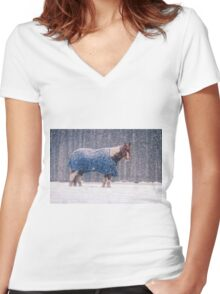 Equine Snowstorm Two Women's Fitted V-Neck T-Shirt