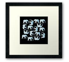 Herd of Elephants - Light Blue Framed Print