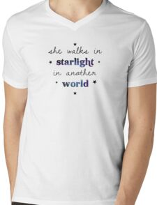 She walks in starlight in another world Mens V-Neck T-Shirt