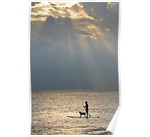 Man And Dog At Sunset, Perth, Western Australia. Poster