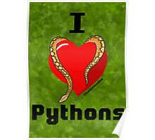 "Normal Reticulated Python ""I <3 Pythons"" Art Poster"