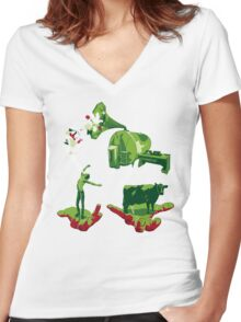 Milking The Music Women's Fitted V-Neck T-Shirt