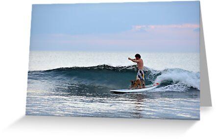 Man And Dog Surfing, Perth, Western Australia. by Stewart Allen