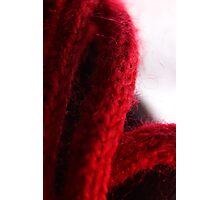 Macro Red Yarn Photograph Photographic Print