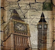 retro newspaper print vintage london landscape big ben by lfang77