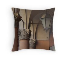 three columns and a streetlight Throw Pillow