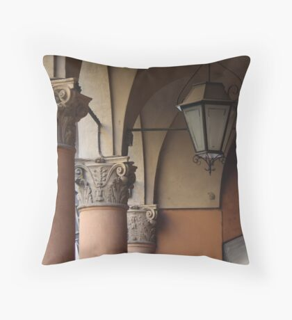 three columns and a streetlight Throw Pillow